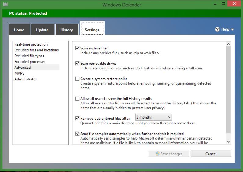 'settings' in windows defender anti-malware program