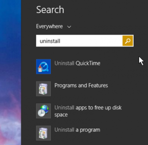 search for 'uninstall' on win8 8.1