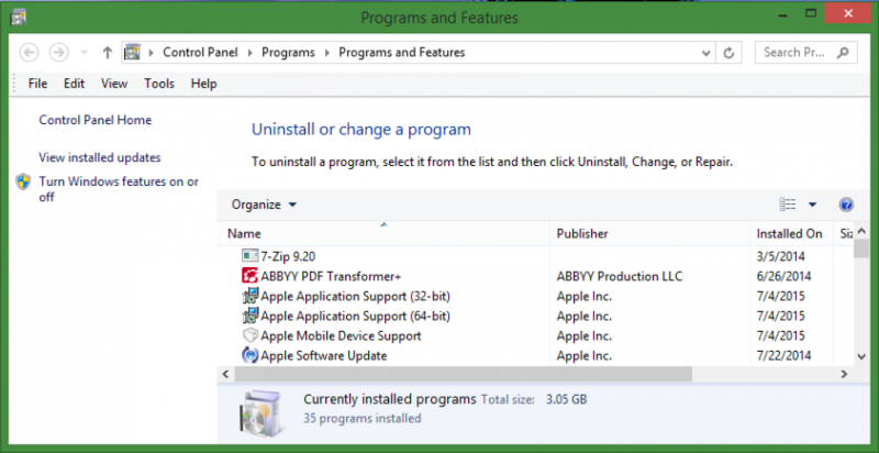 list of programs you can uninstall in microsoft windows 8 / 8.1