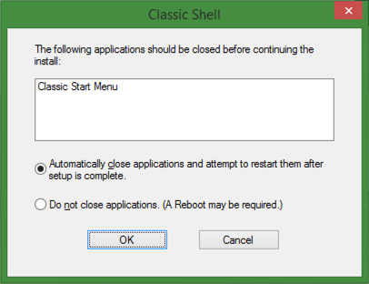 preparing to uninstall classic shell