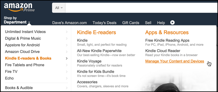 manage your amazon kindle device and software
