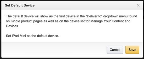 make default kindle device?