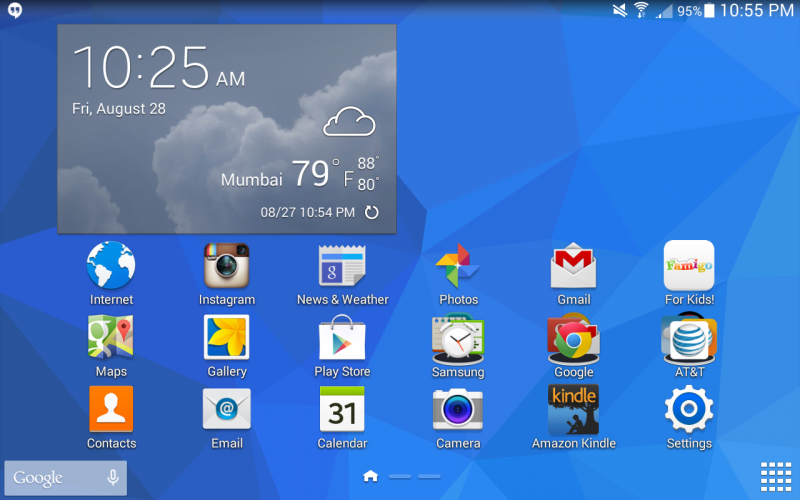 android tablet home screen - samsung galaxy tab 4