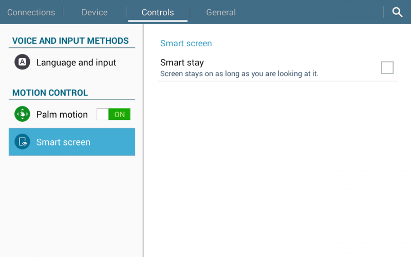 enable smart screen / smart stay android galaxy tab 4 tablet