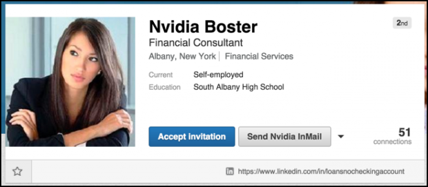 scam spam linkedin profile page