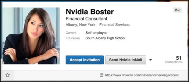 scam spam linkedin profile page