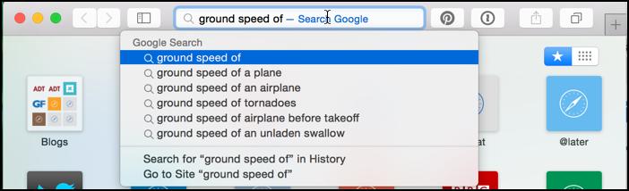 google search and google suggestions on mac safari search