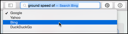 choose search engine for just this search, apple mac safari