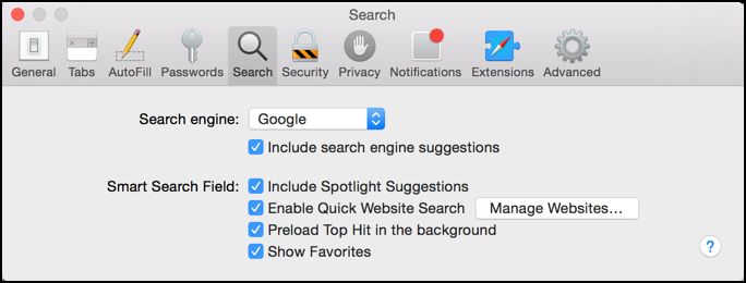 mac how to change the search options