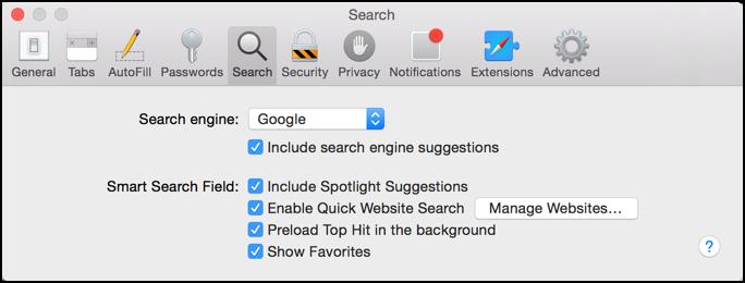 search engine preferences and settings apple mac safari