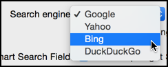 set default search engine yahoo, bing, duckduckgo, google in mac os x safari