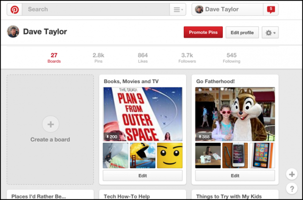change pinterest pinboard cover photo