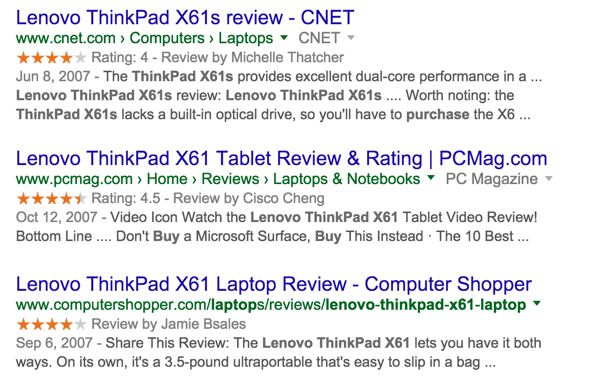 google results lenovo x61 reviews
