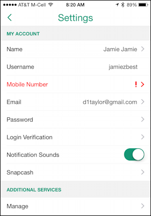 snapchat account settings preferences