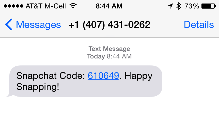 Snapchat code text spam
