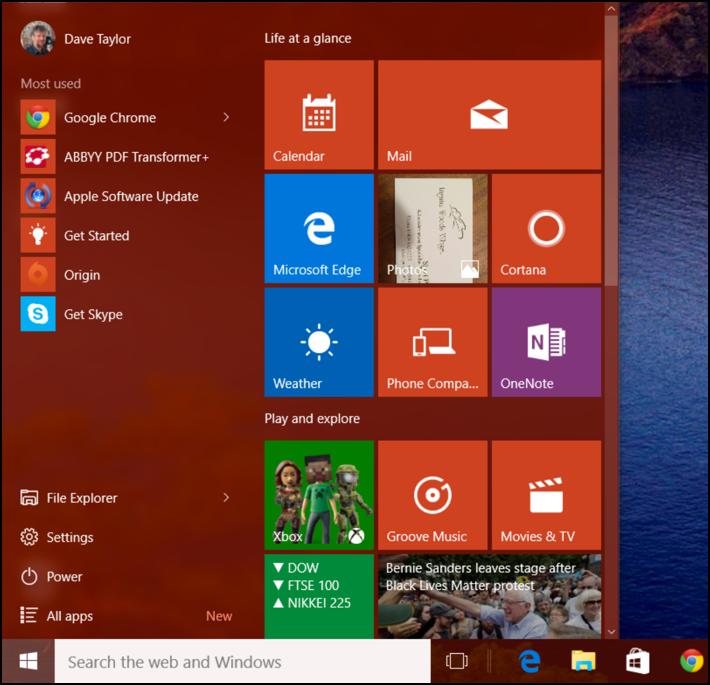 windows 10 win10 start menu in orange / red