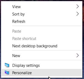 win10 personalize context menu