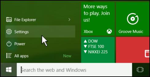 windows 10 win10 start menu > settings