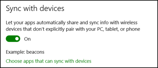 other devices / beacons privacy windows 10 win10