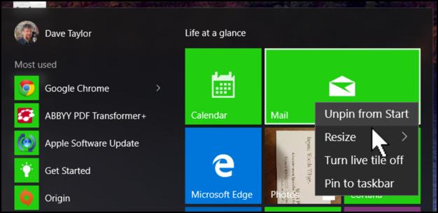 how to make start menu smaller windows 10