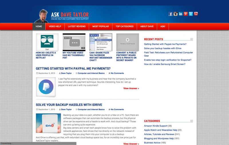the real ask dave taylor home page site design web