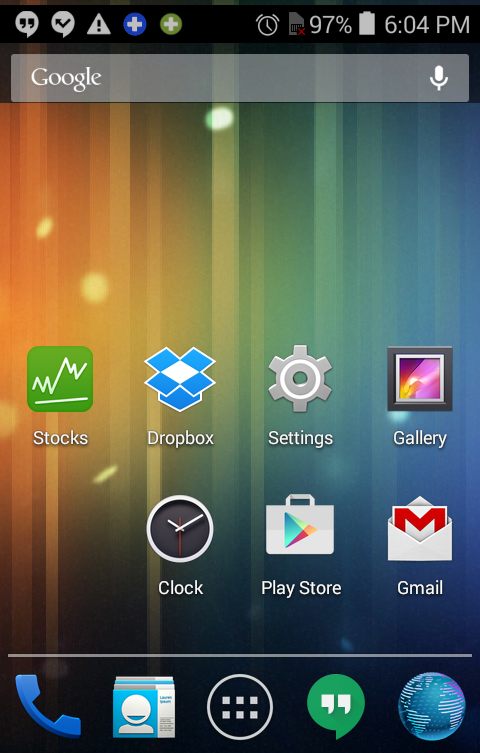 android home screen with clock icon app