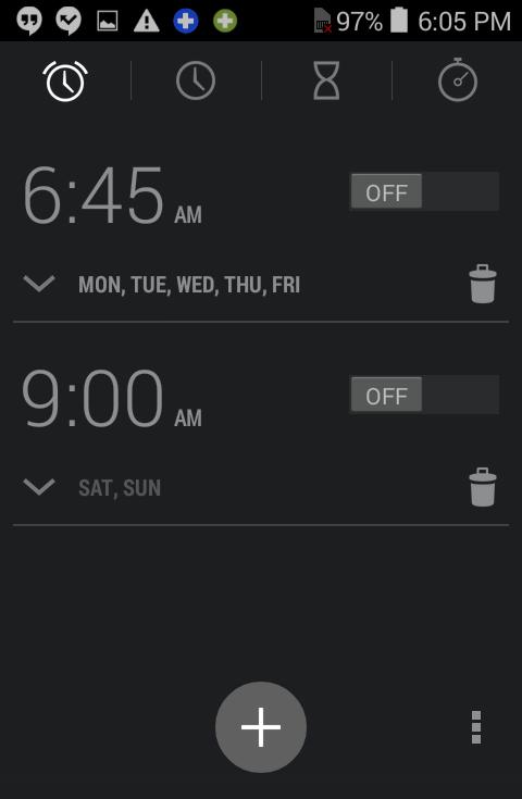 clock app, alarm settings