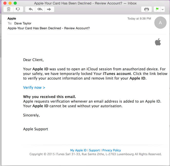 apple id phishing attack email message