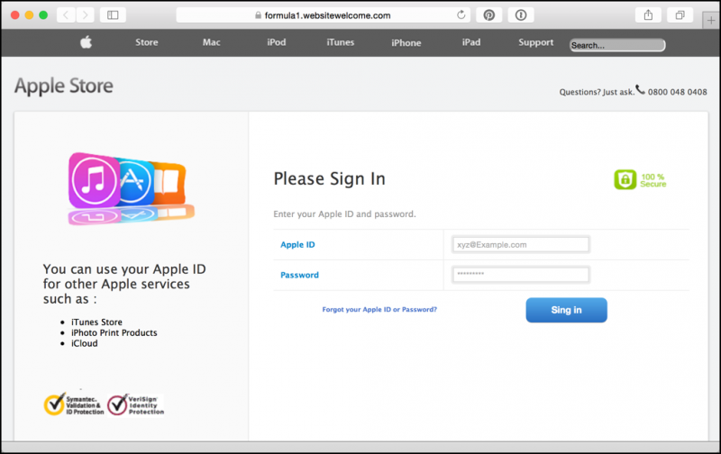 bogus web site trying to steal phish scam rip off your Apple ID