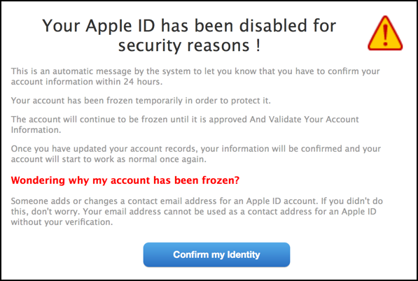 your apple id has been disabled for security reasons phishing bogus