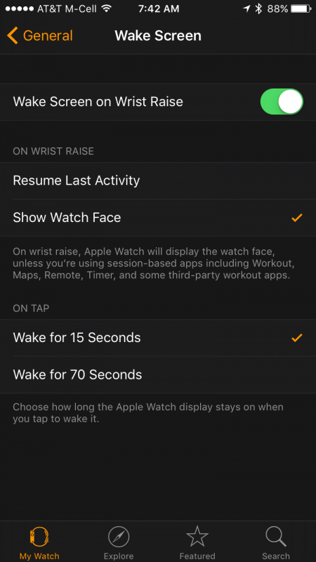 wake screen options in apple watch app settings