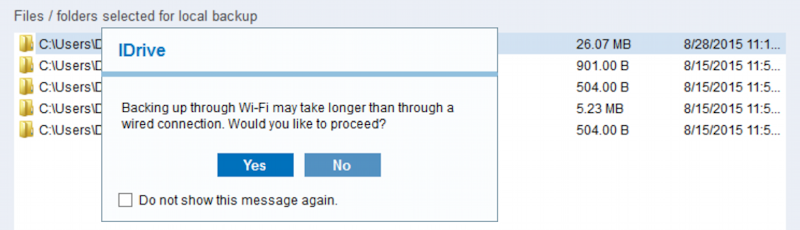 backup via wifi can be slow warning