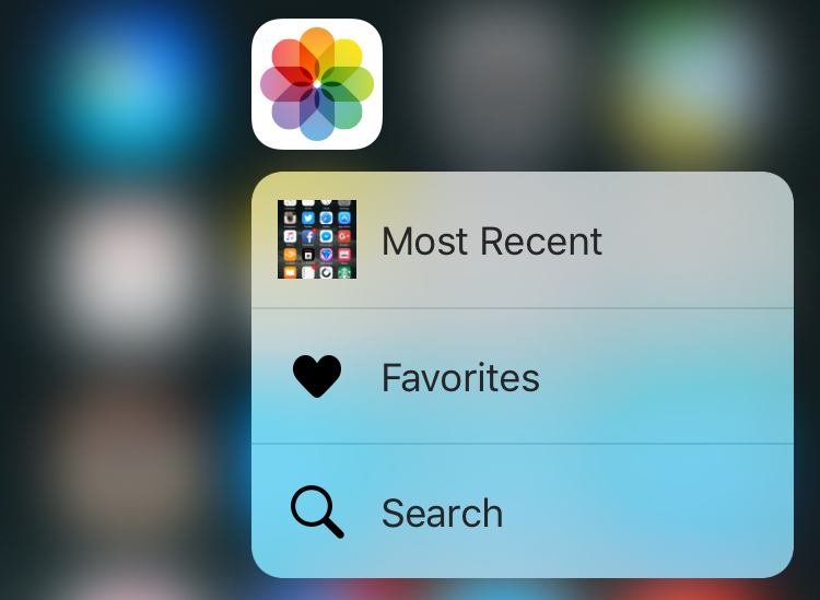 force touch pop menu for photos app, iphone 6s, ios 9