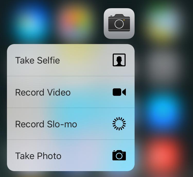 camera app pop menu, iphone 6s plus, ios9