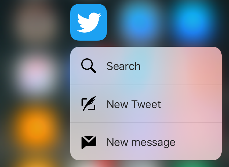 twitter app iphone 6s pop 3d touch