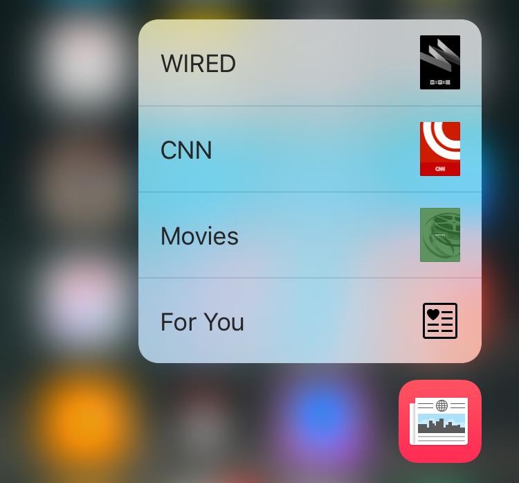 apple news, pop menu 3d force touch, ios 9 iphone 6s