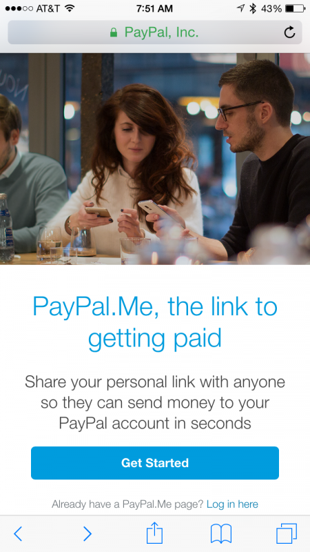 paypal's new paypal.me mobile url payment service, home screen