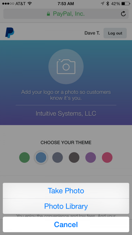 Enter your profile photo and theme color for paypal.me android ios iphone