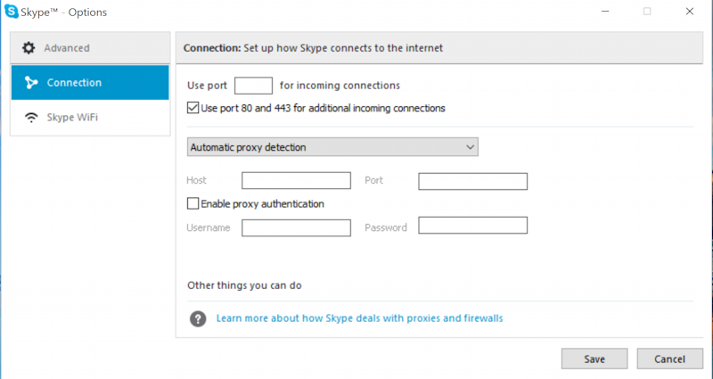 skype connection options when not logged in win10 windows 10