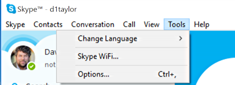 skype > tools > options... windows 10 win10