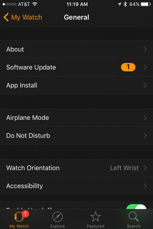 Software update available apple watch os