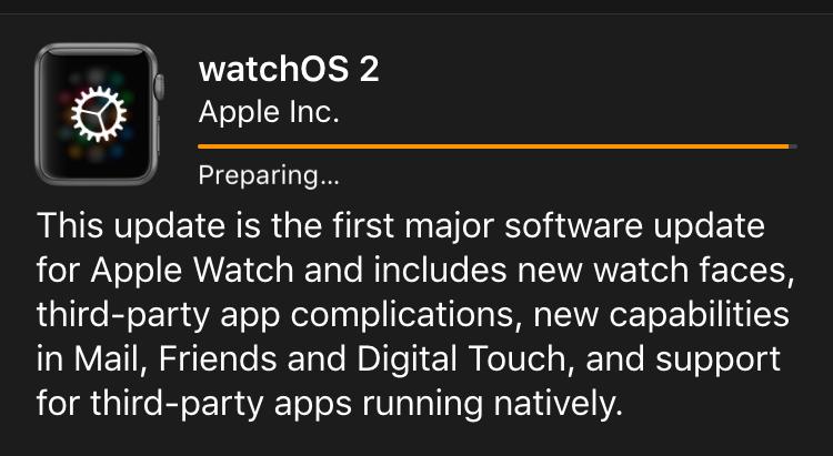 preparing to update watchos