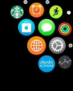 orange globe icon on apple watch sport edition = world clock app