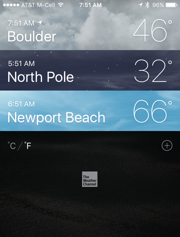 ios 9 weather app with three cities displayed