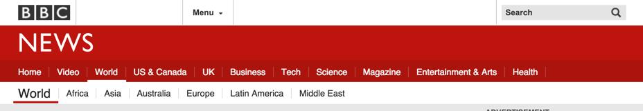 top bar of bbc.com/news/world bbc world news service web site