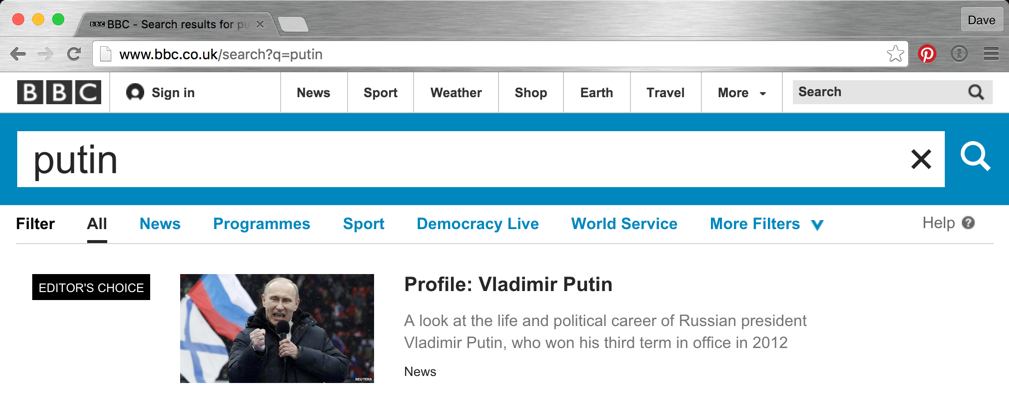 bbc news search result putin