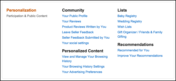 amazon.com account settings preferences privacy