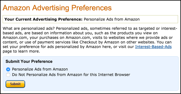 amazon.com account advertising preferences / tracking ads disable