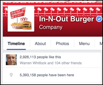 in-n-out burger on facebook