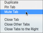 mute audio video streaming background web page tab browser google chrome mac os x